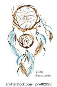 Watercolor ethnic dreamcatcher. Hand painted vector illustration for your design