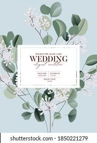 Watercolor eucalyptus floral plants green blue illustration, evergreen leaf branches collection. Garden bouquet, wedding invitation card. Tropical silver dollar branch design.  Summer decor design