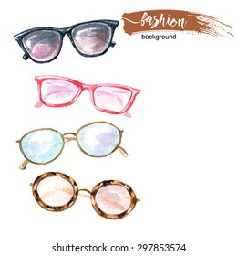 98b7afcd2a2 Watercolor fashion background with sunglasses. Vector illustration.