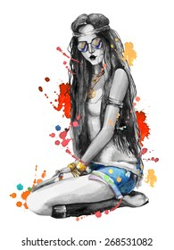 Watercolor fashion boho style girl with sunglasses and splashes. Hand drawn vector illustration