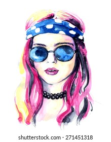 The watercolor fashion girl in the heart shaped glasses. Vector