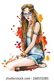 Watercolor fashion girl with splashes. Hand drawn vector illustration.