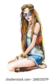 Watercolor fashion girl with sunglasses. Hand drawn vector illustration.