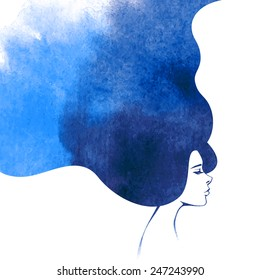 Watercolor Fashion Woman with Long Hair. Vector Illustration. Beautiful Mermaid Face. Girl Silhouette for  Cosmetics, Health and spa.