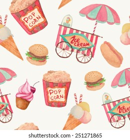 Watercolor fast food pattern. Seamless texture with vintage style food: ice cream, pop corn, cake, hot dog, hamburger. Retro background