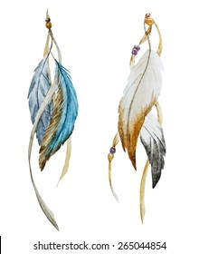 watercolor, feathers,, boho chic, ethnic, drawing