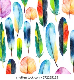 Watercolor feathers set. Hand drawn vector illustration with colorful feathers. Pattern with hand drawn feathers. Feather isolated on white background