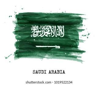 Watercolor flag of Saudi arabia . Vector .
