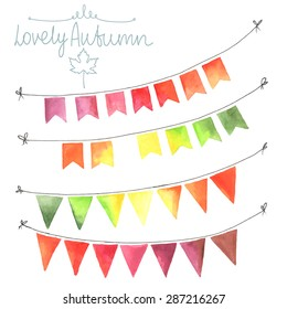 Watercolor flags garlands set. Autumn decor. Garlands made in autumn colors: green, yellow, orange, red. All object made in vector. Each one is separately.