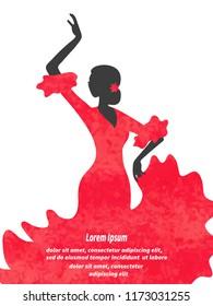 Watercolor Flamenco Dancer vector illustration. Spanish girl.