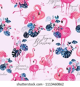 Watercolor flamingo and monstera seamless pattern. Vector background with exotic pink birds and tropical leaves, flowers. Hand drawn illustration of flamingo.