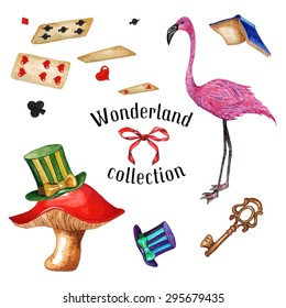 Watercolor Flamingo, Top Hat, Mushroom, Playing cards, Flying Book, Key & Bow, isolated on white background. Alice In Wonderland vintage collection. Vector Elements for your design.