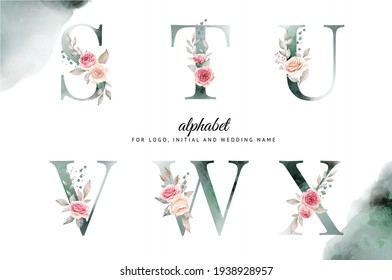 Watercolor floral alphabet set of S, T, U, V, W, X with white and pink flowers . for logo, cards, branding, etc