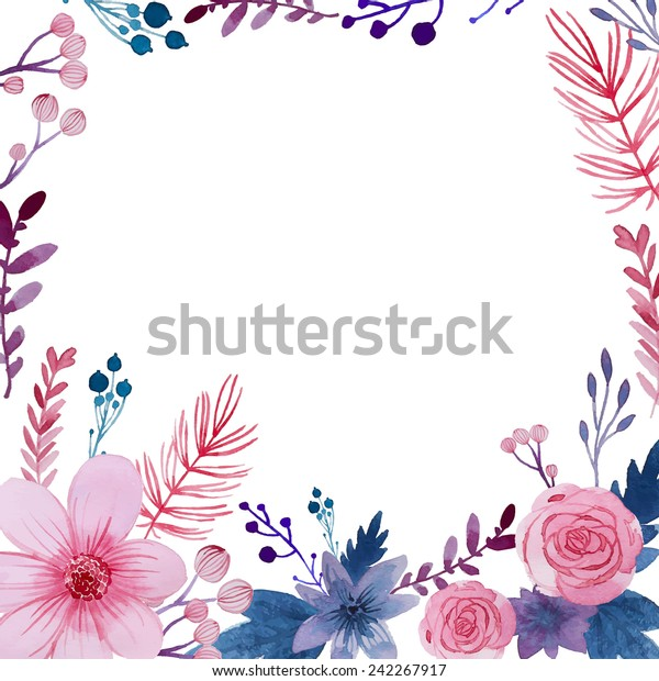 Watercolor floral background. Flowers and plants frame in vector. Pink and purple natural illustration