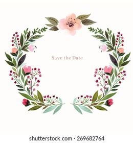 Watercolor floral background. Holiday card, invitation.