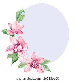 Watercolor floral background with pink orchids and leaves. Vector illustration