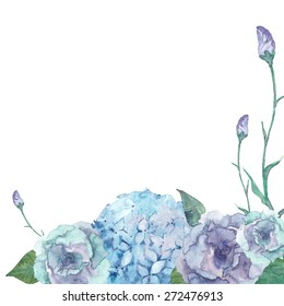 Watercolor floral background. Vector frame with hand drawn hydrangea, lisiantus flowers and leaves. Romantic card design