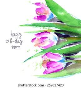 Watercolor floral bouquet. Birthday card. Vector