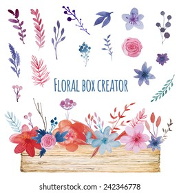 Watercolor floral box creator. Set of hand drawn wood box, plants, berries and flowers for design various combinations and posies.