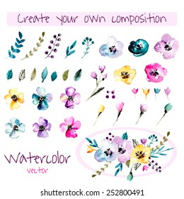 Watercolor floral composition creator. Set of hand drawn  plants, berries, leaves and flowers for design various combinations. You can create your own compositions using elements.