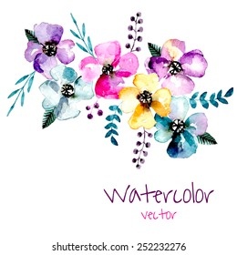 Watercolor floral composition. Romantic set of hand drawn plants, berries and flowers for design. Vector background for invitation, wedding and greeting cards.
