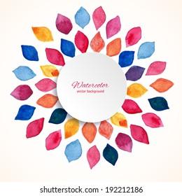 Watercolor floral frame. Design template. Vector illustration