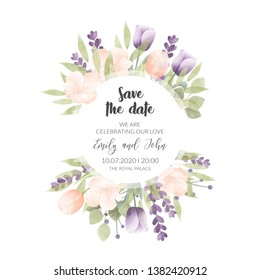 Watercolor floral frame. Multipurpose background