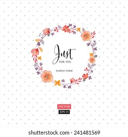 Watercolor floral frame. Vector illustration