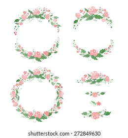 Watercolor floral frames, wreath, dividers. Vector illustration. Great for wedding invitations, Mothers day cards, page decoration.