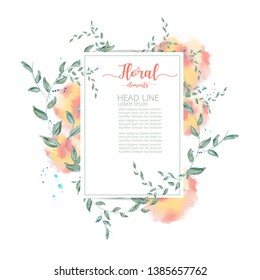 watercolor floral greeting card. flower and leaves,wedding invitation
