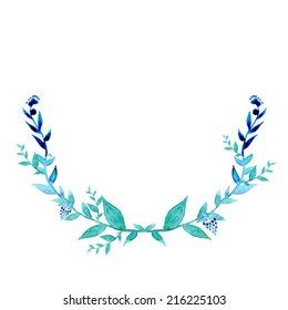 Watercolor floral indie wreath frame. Hand drawn vector leaves in blue color