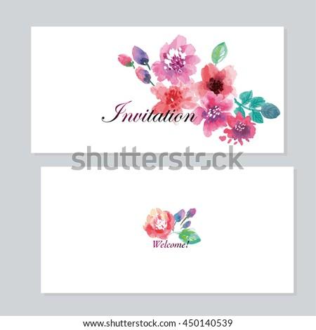 Watercolor Floral Invitation Template Wedding Hand Stock Vector