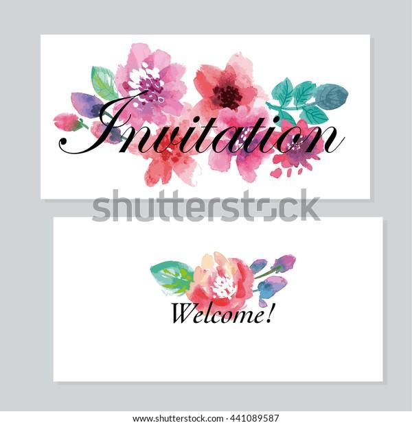 Watercolor Floral Invitation Template Wedding Hand Stock Vector ...