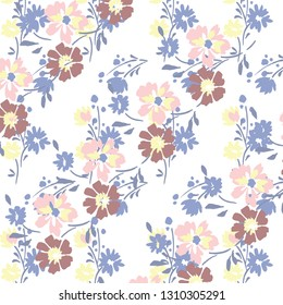 watercolor floral pattern, Ditsy floral background.