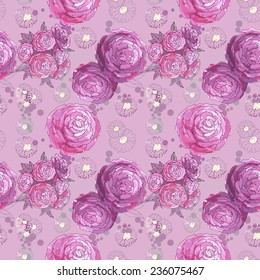 Watercolor Floral Seamless Pattern. Hand Painted Flowers Background with Pink and Purple Peonies. Good For Web, Print, Wrapping Paper.