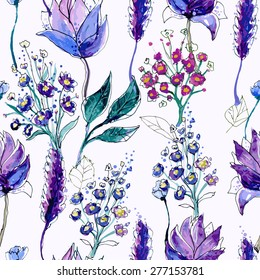 Watercolor Floral Seamless Pattern. Hand Painted Flowers Background. Wildflowers Violet Ornament. Good For Web, Print, Wrapping Paper.