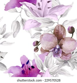 Watercolor floral seamless pattern with orchid flowers on white background