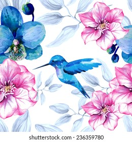 Watercolor floral seamless pattern with orchid flowers and hummingbird