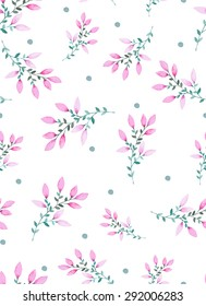 Watercolor floral seamless pattern with purple flowers. Vector illustration with hand draw flowers. Floral pattren.