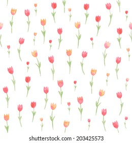 Watercolor floral seamless pattern. Tulips Vector illustration. Beautiful background.  Endless texture can be used for printing onto fabric and paper or scrap booking.
