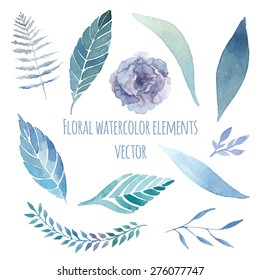 Watercolor floral set with herbs, lisianthus, fern elements set. Vintage blue leaves, flowers and branches. Vector hand drawn design illustration
