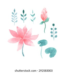 Watercolor floral set with pink lotus flowers, branches and leaves isolated on a white background. Vector elements for design of logo, banners, invitation, cards, labels