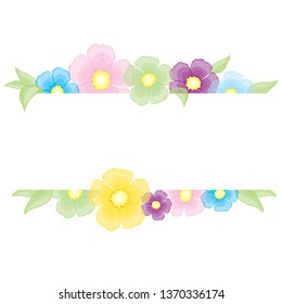 Watercolor Floral Vector Set With Flowers And Branch. Wedding Invitation Frame Set With Flowers Art