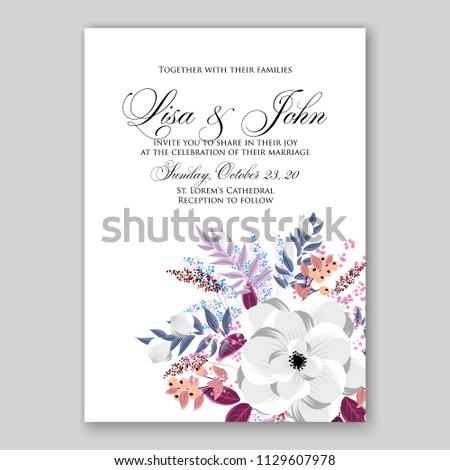 Watercolor Floral Wedding Invitation Card Template Stock Vector