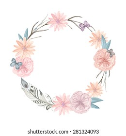 Watercolor floral wreath. It can be used for greeting cards, posters, wedding cards. Painted hands round frame of flowers, twigs, feathers and butterflies rustic