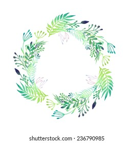 Watercolor floral wreath. Natural frame isolated on white background. Artistic vector illustration.