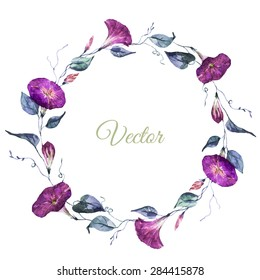 watercolor floral wreath summer morning glory purple flowers