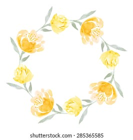 Watercolor floral wreath of yellow peony flowers. Template for invitation,card, save the date, postcard, banner, poster, mothers day, women day, birthday, bridal shower, newborn card. Vector