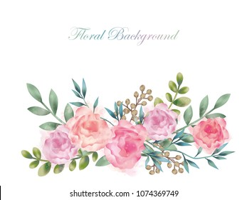 Watercolor flower background illustration with text space, vector illustration.