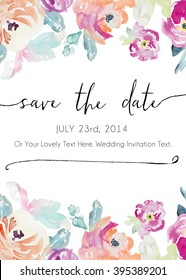 Watercolor Flower Background Save The Date Vector